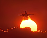 Passenger Plane Art - Boeing 737 Taking Off At Sunset by David Nunuk