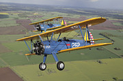 Two People Posters - Boeing Stearman Model 75 Kaydet In U.s Poster by Daniel Karlsson