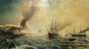 Sailboat Ocean Posters - Bombardment of Sale Poster by Jean Antoine Theodore Gudin