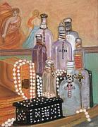Books Pastels Framed Prints - Books  Boxes  Bottles and Beads Framed Print by Linda Scharck