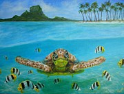 Bora Bora Turtle Print by Jennifer Belote