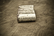 Food And Wine Prints - Bordeaux Wine Corks Print by Frank Tschakert
