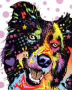 Dean Russo Art Mixed Media Prints - Border Collie Print by Dean Russo