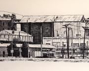 Poles Drawings - Borderland Mills by Candy Mayer