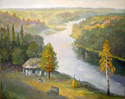 Russia Paintings - Borki. Rive Voronezh by Valery Semenov