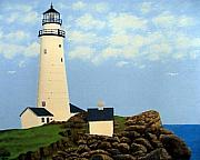 Lighthouse Images Paintings - Boston Harbor Lighthouse by Frederic Kohli