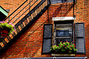 Brick Buildings Metal Prints - Boston house fragment Metal Print by Elena Elisseeva