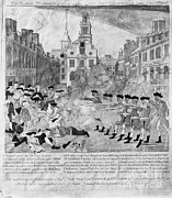Paul Revere Posters - Boston Massacre, 1770 Poster by Omikron