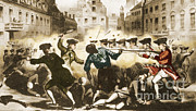 Colonial Man Framed Prints - Boston Massacre, 1770 Framed Print by Photo Researchers