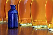 Liquid Gold Prints - Bottle Of Blue Print by M  Nerrie