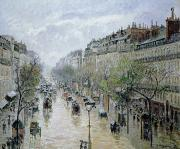 Rainy Street Paintings - Boulevard Montmartre by Camille Pissarro