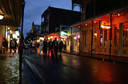 Rain Digital Art Metal Prints - Bourbon Street at Dusk Metal Print by Thomas R Fletcher