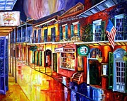 Night Landscape Framed Prints - Bourbon Street Red Framed Print by Diane Millsap