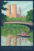 Hill Digital Art Posters - Bow Bridge in Central Park Poster by Mitch Frey