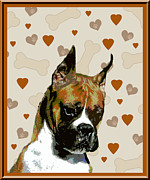 Boxer Digital Art Metal Prints - Boxer Metal Print by One Rude Dawg Orcutt