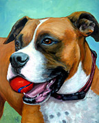 Tricolored Posters - Boxer with Red Ball Poster by Dottie Dracos