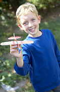 Model Aircraft Prints - Boy Playing With A Toy Aeroplane Print by Ian Boddy