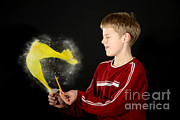 Human Being Metal Prints - Boy Popping A Balloon Metal Print by Ted Kinsman