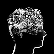 Enterprise Metal Prints - Brain Design By Cogs And Gears Metal Print by Setsiri Silapasuwanchai