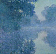 Mist Metal Prints - Branch of the Seine near Giverny Metal Print by Claude Monet