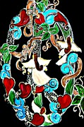 Black Background Painting Framed Prints - Branching Peace and Love Framed Print by Amy Carruth-Drum