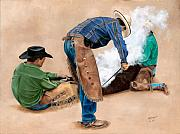 Western Usa Painting Posters - Branding Day Poster by Mary Rogers