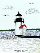Ocean Images Drawings Posters - Brant Point Lighthouse Poster by Frederic Kohli