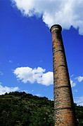 Chimneys Posters - Brick smoke stack emitting smoke Poster by Sami Sarkis