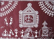 Warli Paintings - Bride and groom by Samiksha Jain
