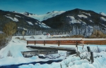 Mountains Painting Originals - Bridge To Red Cloud by David Ackerson