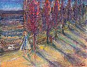Tree Of Life Pastels - Bright lady on a hill by Laurie Parker