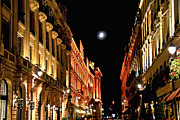 Old Street Metal Prints - Bright moon in Paris Metal Print by Elena Elisseeva