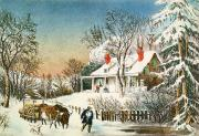 Rustic House Framed Prints - Bringing Home the Logs Framed Print by Currier and Ives