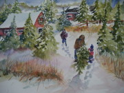 Wreaths Paintings - Bringing In the Tree by Sandra Strohschein