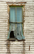 Clapboard House Photo Framed Prints - Broken Window in Abandoned House Framed Print by Jill Battaglia