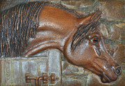 Bas Relief Reliefs Prints - Bronze Arabian Horse Relief Print by Valerie  Evanson