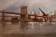 Cityscape Mixed Media Originals - Brooklyn Bridge by Anita Burgermeister