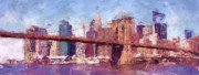 Brooklyn Bridge Prints - Brooklyn Bridge  Print by Julie Lueders