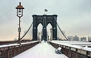 Nyc Snow Prints - Brooklyn Bridge Print by June Marie Sobrito