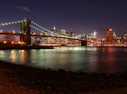 Sun Sky Clouds Posters - Brooklyn Bridge Nights Poster by Nina Papiorek