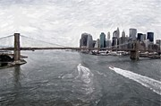 Skylines Pastels Prints - Brooklyn Bridge  Print by Stefan Kuhn