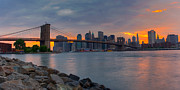 New York Skyline Art - Brooklyn Sunset by David Hahn