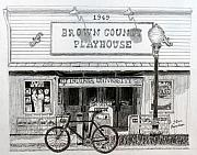 Lamp Post Drawings Framed Prints - Brown County Playhouse Framed Print by Stan Hamilton