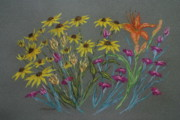 Brown Eyed Susans And Lily Print by Collette Hurst