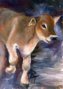 Swiss Painting Originals - Brown Swiss Calf aceo by Brenda Thour