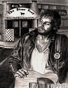 Graphite Portraits Drawings - Bruce Springsteen by Kathleen Kelly Thompson