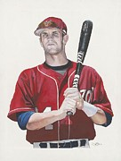 Baseball Art Painting Metal Prints - Bryce and the Fat Chik Metal Print by Jason Yoder