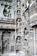 Tradition Prints - Buddha carvings at ajanta caves Print by Sumit Mehndiratta