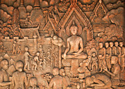 Historic Statue Prints - Buddha Print by Niphon Chanthana