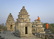 Religious Dress Prints - Buddhist Monks Amongst Temple Ruins Print by Martin Puddy